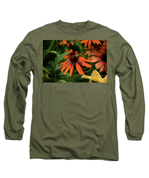 Bee Pollinating On A Cone Flower Long Sleeve T-Shirt