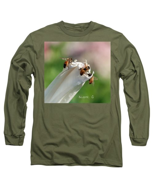 Bees On Angel Trumpet Long Sleeve T-Shirt