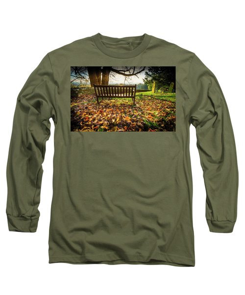 Bench With Autumn Leaves Long Sleeve T-Shirt