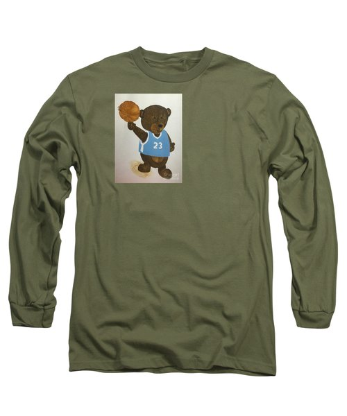 Long Sleeve T-Shirt featuring the painting Benny Bear Basketball  by Tamir Barkan