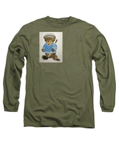 Long Sleeve T-Shirt featuring the painting Benny Bear Hockey by Tamir Barkan