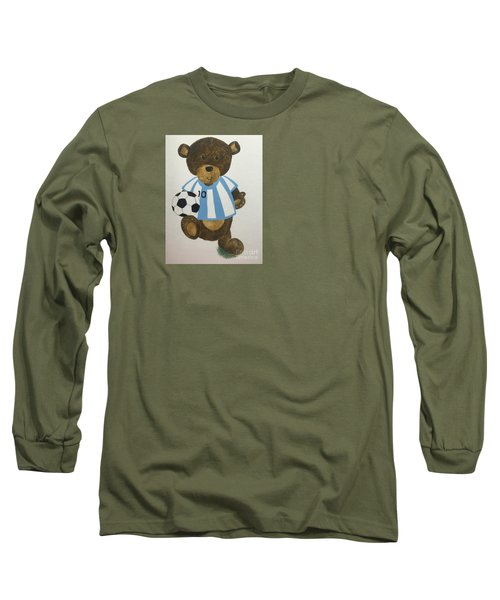 Long Sleeve T-Shirt featuring the painting Benny Bear Soccer by Tamir Barkan
