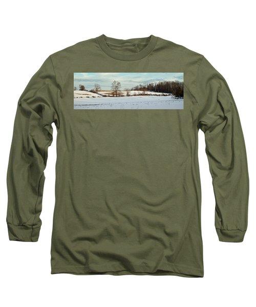 Berkshire Meadow - Winter Panoramic Long Sleeve T-Shirt