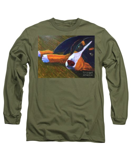 Long Sleeve T-Shirt featuring the painting Bernese Mtn Dog On The Deck by Donald J Ryker III