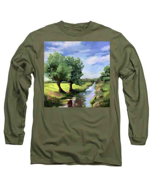 Beside The Creek - Original Rural Landscape  Long Sleeve T-Shirt
