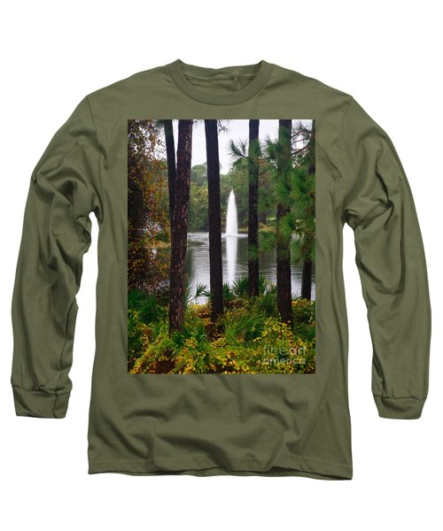 Long Sleeve T-Shirt featuring the photograph Between The Fountain by Lori Mellen-Pagliaro