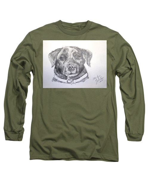 Big Black Dog Long Sleeve T-Shirt by Marilyn Zalatan
