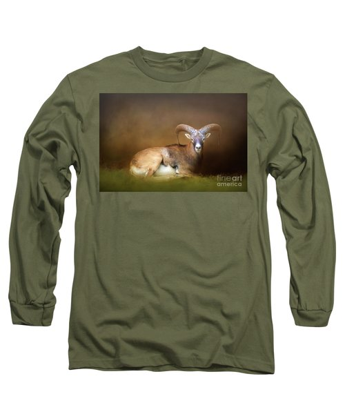 Big Horn Sheep Long Sleeve T-Shirt by Marion Johnson
