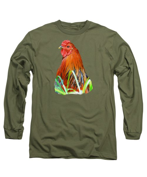 Big Red The Rooster Long Sleeve T-Shirt by Pamela Walton