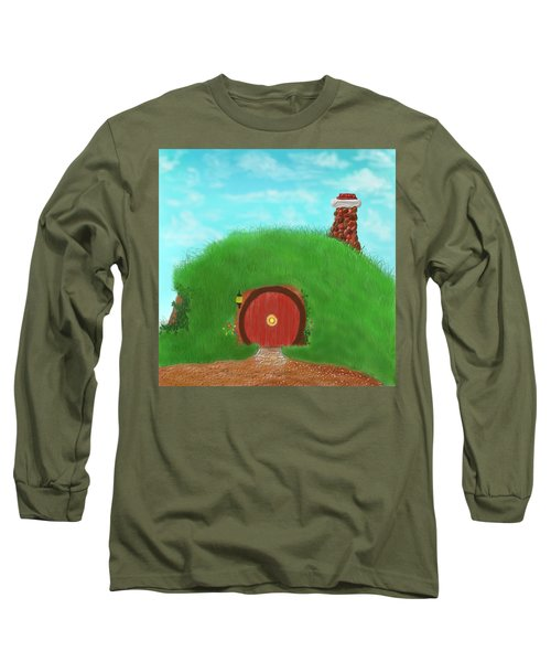 Long Sleeve T-Shirt featuring the painting Bilbo's Home In The  Shire by Kevin Caudill