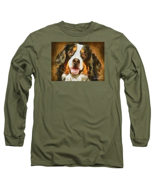 Long Sleeve T-Shirt featuring the painting Bimbo - Bernese Mountain Dog by Dragica  Micki Fortuna