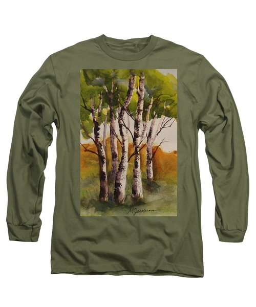 Long Sleeve T-Shirt featuring the painting Birch by Marilyn Jacobson