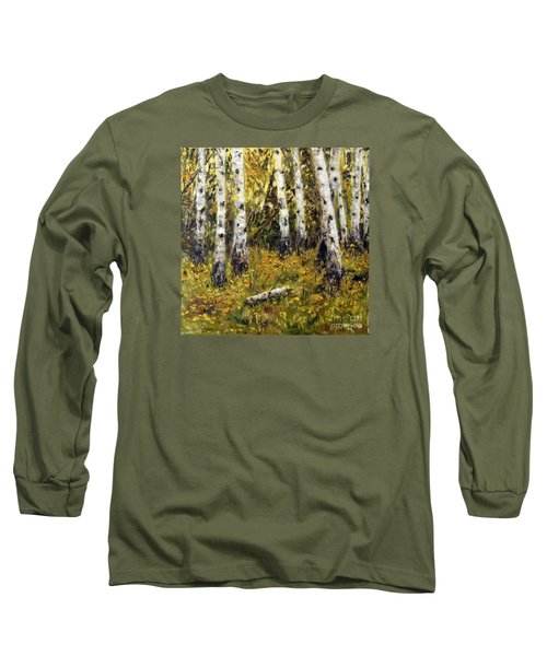 Long Sleeve T-Shirt featuring the painting Birches by Arturas Slapsys