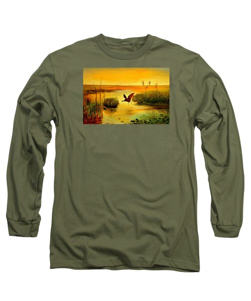 Bird Water Long Sleeve T-Shirt by Henryk Gorecki