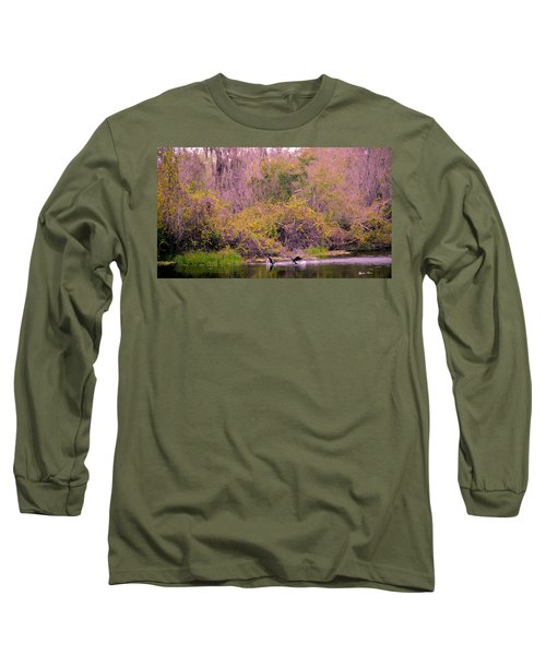 Long Sleeve T-Shirt featuring the photograph Birds Playing In The Pond 2 by Madeline Ellis