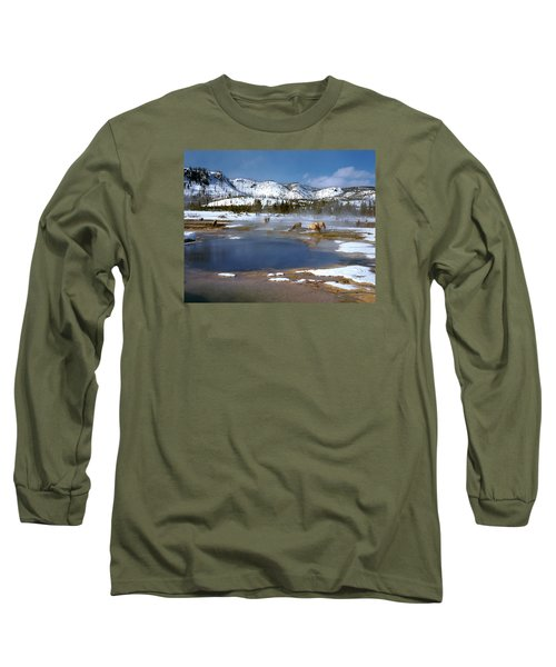 Biscuit Basin Elk Herd Long Sleeve T-Shirt by Ed  Riche