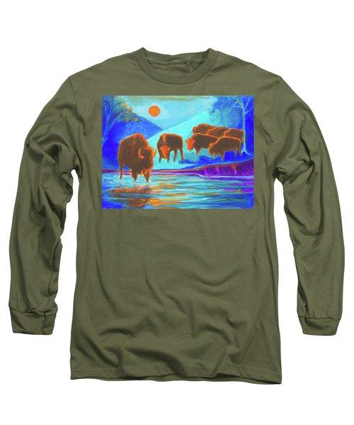 Bison Art - Seven Bison At Sunrise Yosemite Painting T Bertram Poole Long Sleeve T-Shirt by Thomas Bertram POOLE