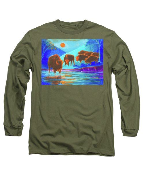 Bison Art - Seven Bison At Sunrise Yosemite Painting T Bertram Poole Long Sleeve T-Shirt