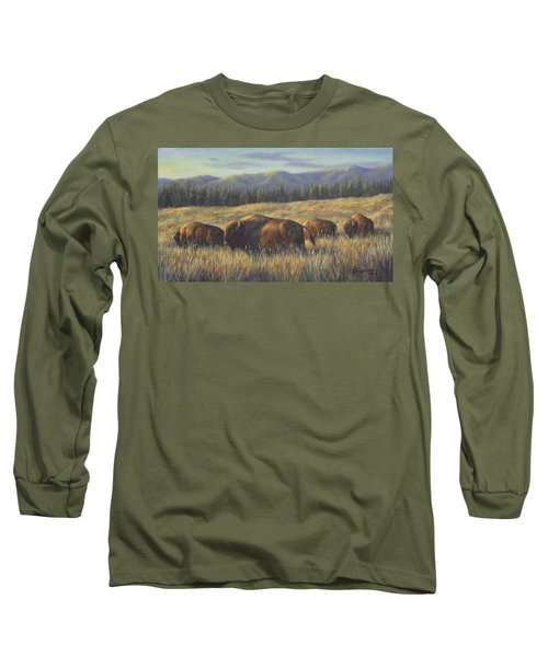 Long Sleeve T-Shirt featuring the painting Bison Bliss by Kim Lockman