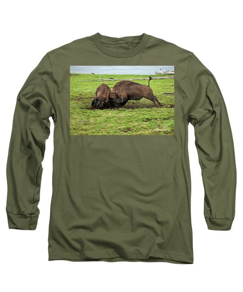 Bison Fighting Long Sleeve T-Shirt by Cindy Murphy - NightVisions