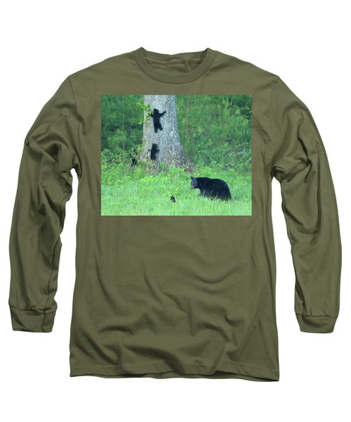 Black Bear Sow And Four Cubs Long Sleeve T-Shirt