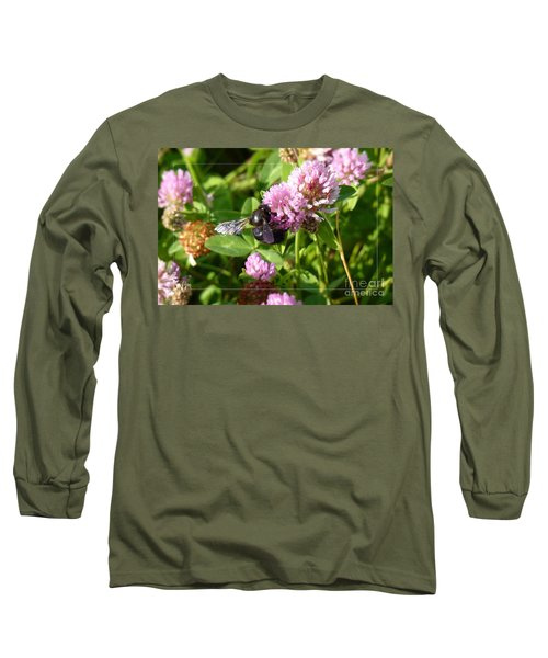 Black Bee On Small Purple Flower Long Sleeve T-Shirt by Jean Bernard Roussilhe