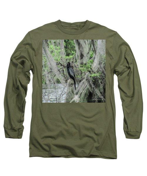 Black Bird Waiting In The Moss Long Sleeve T-Shirt