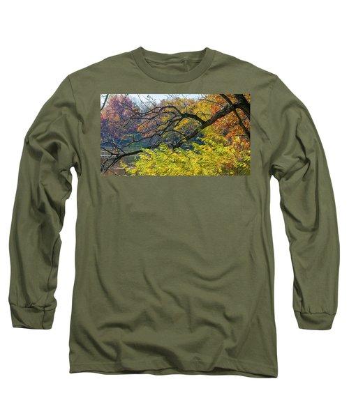 Black Branches Through Bright Autumn Trees Long Sleeve T-Shirt