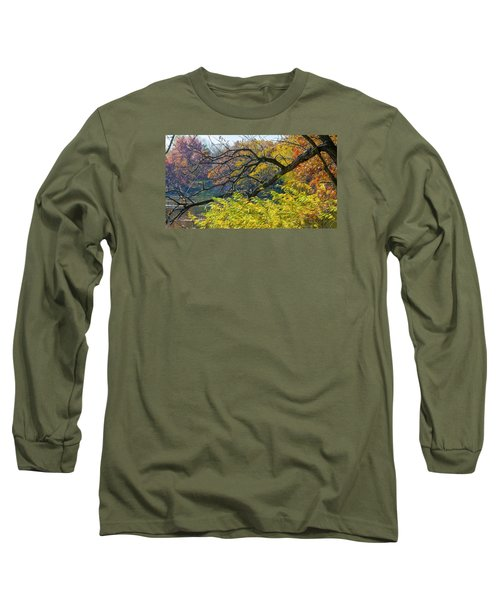 Black Branches Through Bright Autumn Trees Long Sleeve T-Shirt