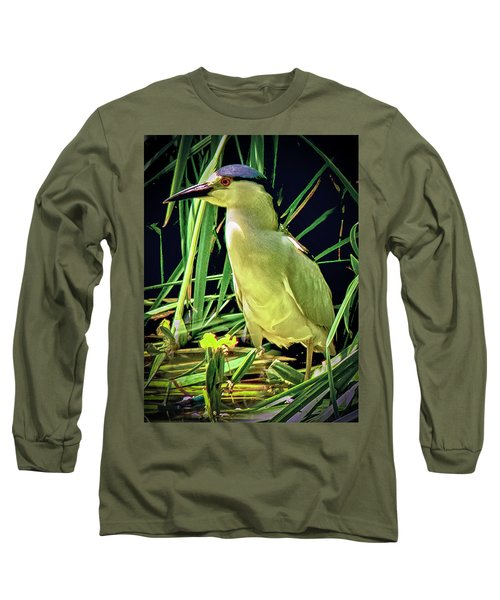 Long Sleeve T-Shirt featuring the photograph Black Crowned Night Heron by Joseph Hollingsworth