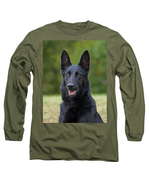 Black German Shepherd Dog Long Sleeve T-Shirt by Sandy Keeton