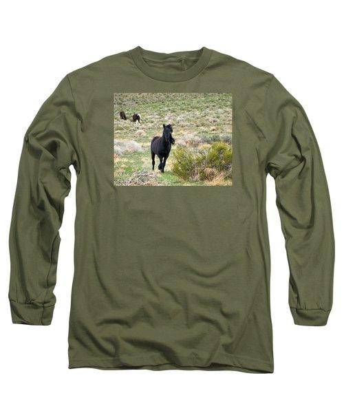 Black Mustang Stallion Running Long Sleeve T-Shirt