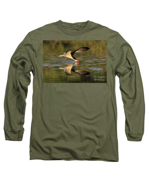 Black Skimmer Fishing Long Sleeve T-Shirt by Meg Rousher