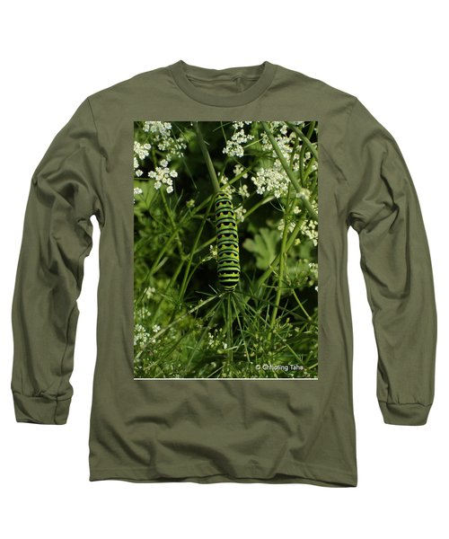 Long Sleeve T-Shirt featuring the painting Black Swallowtail Butteryfly Caterpillar by Chholing Taha