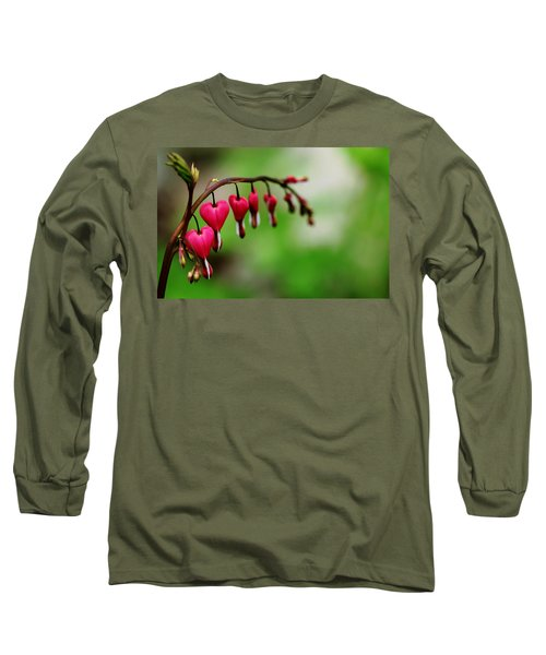 Long Sleeve T-Shirt featuring the photograph Bleeding Hearts Flower Of Romance by Debbie Oppermann