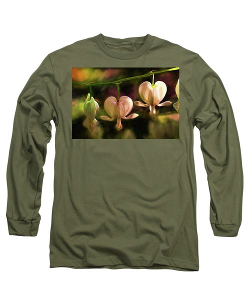 Long Sleeve T-Shirt featuring the painting Bleeding Hearts In My Secret Garden by Peggy Collins