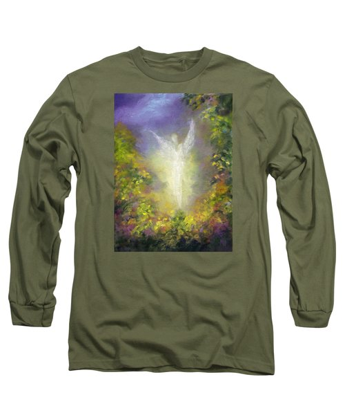 Long Sleeve T-Shirt featuring the painting Blessing Angel by Marina Petro