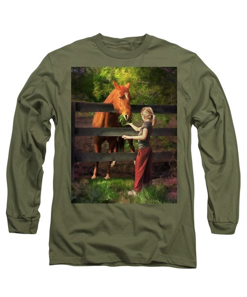 Blond With Horse Long Sleeve T-Shirt
