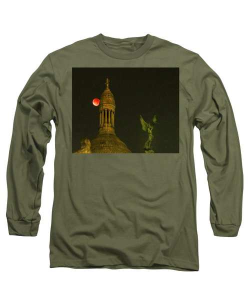 Long Sleeve T-Shirt featuring the photograph Blood Moon Eclipse At Sacre Coeur Paris  2015 by Sally Ross