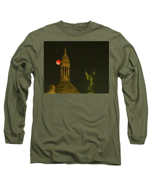 Blood Moon Eclipse At Sacre Coeur Paris  2015 Long Sleeve T-Shirt