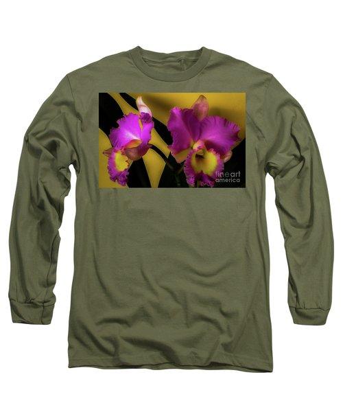 Blooming Cattleya Orchids Long Sleeve T-Shirt