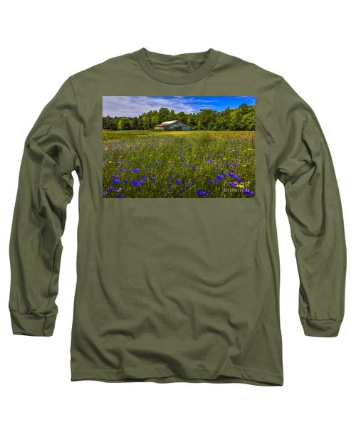 Blooming Country Meadow Long Sleeve T-Shirt by Marvin Spates