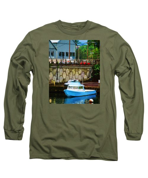 Long Sleeve T-Shirt featuring the photograph Blue Boat By The Mamalahoa Highway by Timothy Bulone