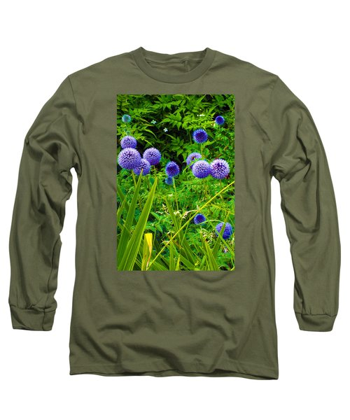 Blue Allium Flowers Long Sleeve T-Shirt