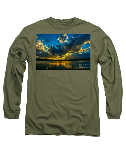 Blue And Gold Sunset With Rays Long Sleeve T-Shirt by Tom Claud