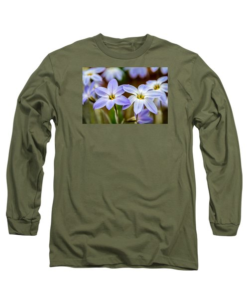 Blue And White Flowers  Long Sleeve T-Shirt by Martina Fagan