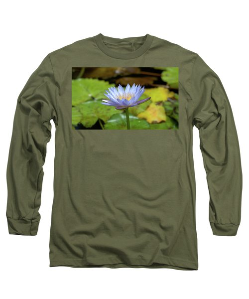 Blue And Yellow Water Lily Long Sleeve T-Shirt