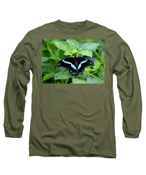 Blue Banded Swallowtail Butterfly Long Sleeve T-Shirt