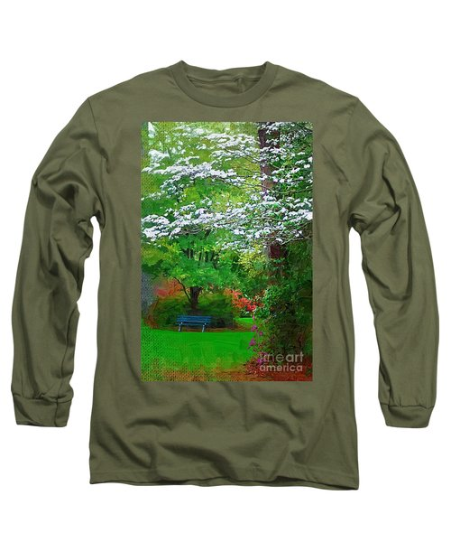 Long Sleeve T-Shirt featuring the photograph Blue Bench In Park by Donna Bentley