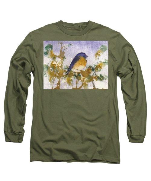 Blue Bird In Waiting Long Sleeve T-Shirt